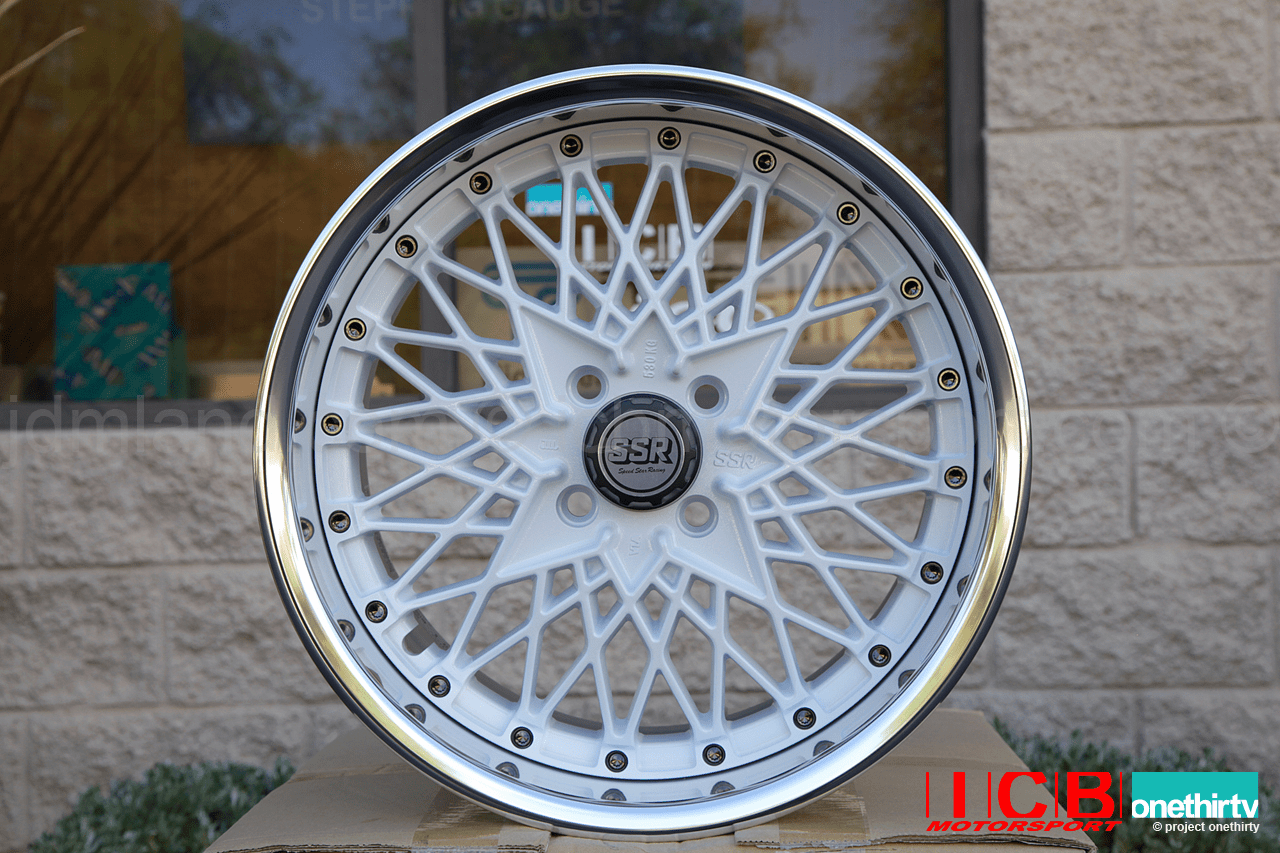 SSR Formula Mesh 3 piece wheel White 16X8 4X100 +39 Offset 65mm Lip