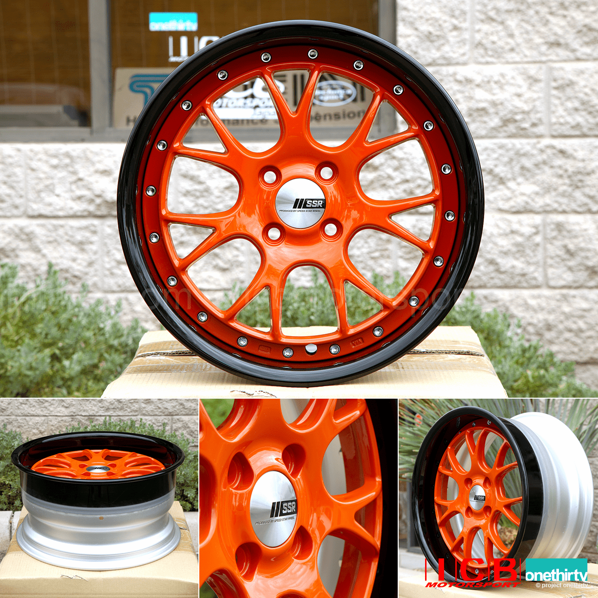 SSR Professor MS3R Orange Face Black Satin Lip 3 Piece 16X8 4X100 +39 Offset 65mm Lip