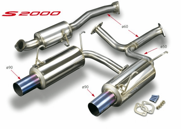 Toda Racing Honda S2000 Stainless Exhaust System with Straight Titanium Tip 18000-AP1-001 Pre-Order
