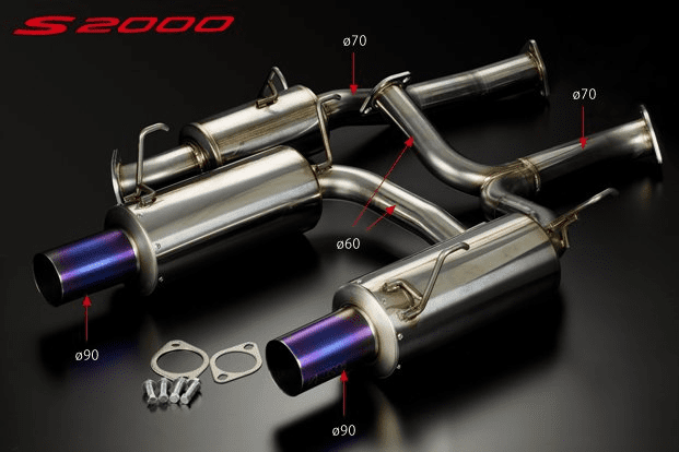 Toda Racing Honda S2000 Stainless Exhaust System with Straight Titanium Tip 70mm for TODA 2.35L/2.4L KIT 18000-AP1-701 Pre-Order
