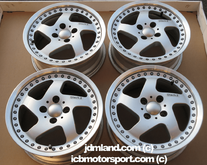 "Work STARK II Silver with Polished Lip 15"" 4X100 - SOLD!"