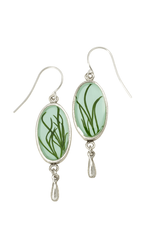 Seagrass on Aqua SM Oval Earrings w/Drop