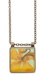 Wild Butterfly Pansy Sq Necklace