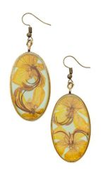 Wild Butterfly Pansy Lg Oval Earrings