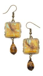 Wild Pansy Butterfly Sq Earrings w/Drop