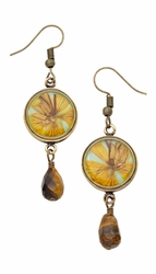 Wild Butterfly Pansy Rnd Earrings w/Drop