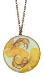 Wild Butterfly Pansy LG Rnd Necklace