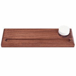 Solid Hardwood Pen Rest with Inkwell, Rounded with Stop-slot
