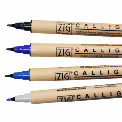 Zig Memory System Calligraphy Marker Set of 4, Blue