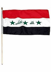 Flag of Iraq: 12 x 18 in. Stick Flag with Takbir
