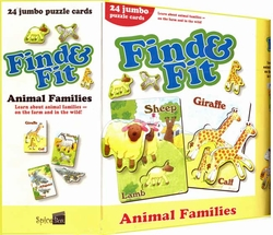 Find & Fit: Animal Families: 24 Jumbo Puzzle Cards (English)