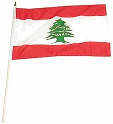 Flag of Lebanon: 12 x 18 in. Stick Flag