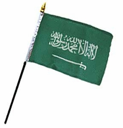 Flag of Saudi Arabia: 4 x 6 in. Stick Flag