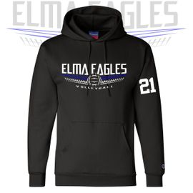 Elma HS Volleyball Champion Double Dry Eco Hooded Sweatshirt. S700.