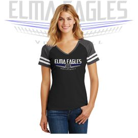 Elma HS Volleyball District Women's Game V-Neck Tee. DM476.