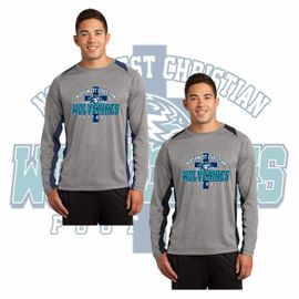 Northwest Christian Football Sport-Tek Long Sleeve Heather Colorblock Contender Tee. ST361LS.