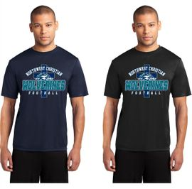 Northwest Christian Football Dry Fit Performance Tee.