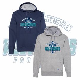 Northwest Christian Football Russell Athletic Cotton Rich Fleece Hooded Sweatshirt. 82ONSM.