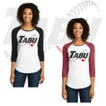 TABU Fastpitch District Women's Fitted Very Important Tee 3/4-Sleeve Raglan. DT6211.