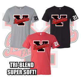Yelm HS Fastpitch Triblend Tee. 3413.