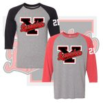 Yelm HS Fastpitch Triblend Three-Quarter Raglan Baseball T-Shirt. 601RR.