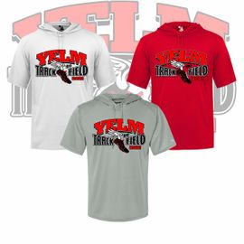 Yelm HS Track & Field Badger B-Core Hooded T-Shirt. 4123.