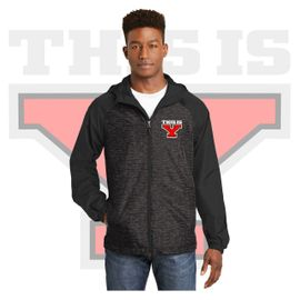 Yelm HS Staff Sport-Tek Heather Colorblock Raglan Hooded Wind Jacket. JST40.