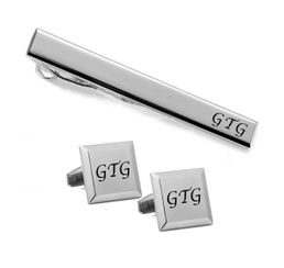 Edged Silver Stainless Steel Tie Clip Cuff Link Set