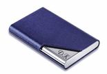 Blue Leatherette Business Card Holder