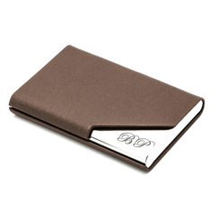Brown Leatherette Business Card Holder
