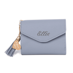 Grey Leather Mini Tassel Purse Wallet