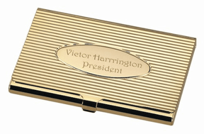 Gold Oval Business Card Holder