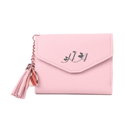 Pink Leather Mini Tassel Purse Wallet