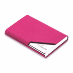 Rose Pink Leatherette Business Card Holder