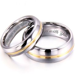 Stainless Steel Two Tone Silver & Gold Ring Set