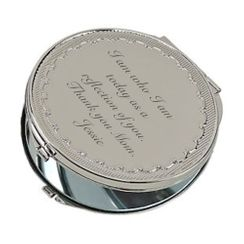 Silver Floral Pattern Compact Mirror