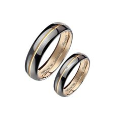 Tungsten Two Tone Silver & Gold Ring Set