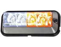 Raised 4.875 Inch Amber/Clear LED Strobe Light With 19 Flash Patterns, Buyers 8891105