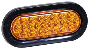 "6-1/2"" Oval Amber Strobe Light, 6 Flash, 12-24vdc, Recessed, Buyers SL65AO"