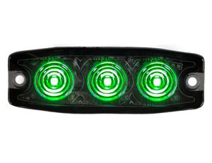 Ultra Thin 3.5 Inch Green LED Strobe Light, 3-Led, Buyers 8892239