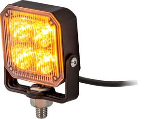 Square LED Strobe Light,  Amber/Clear, Buyers 8891800