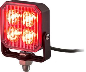 Square LED Strobe Light, Red/Clear, Buyers 8891803