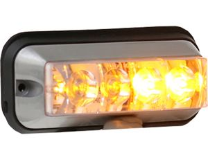 Raised 4.875 Inch Amber LED Strobe Light With 19 Flash Patterns, Buyers 8891004