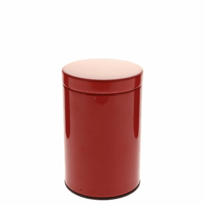 2 Different Size Gloss Red Tea  <br>Canisters, 100 or 200 Grams