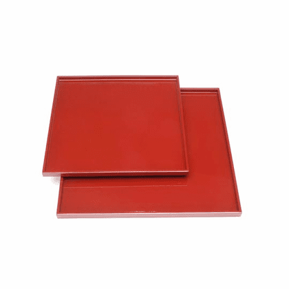 "2 Glossy Red Laquerware Plastic  <br>Serving Trays, 11-3/4 & 14-1/4"" Sq."