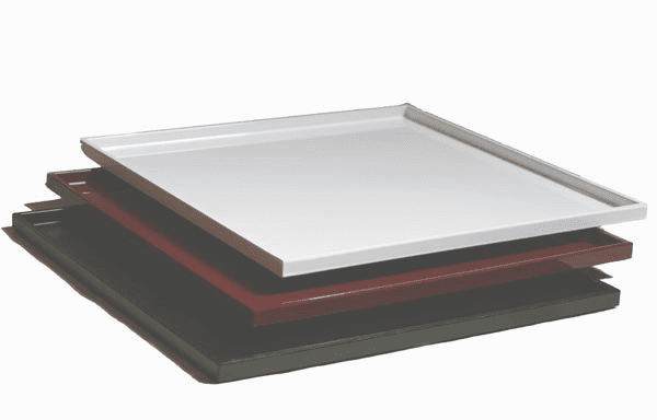 "3 Different Colors Laquerware Plastic <br> Serving Trays, 14-1/4"" sq."