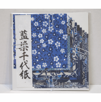 """Aizome Chiyogami Origami Paper  <br>4"""" Sq. 10 Sheets"""