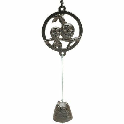 Antique Brown Three Owl  Cast Iron <br> Wind Chime