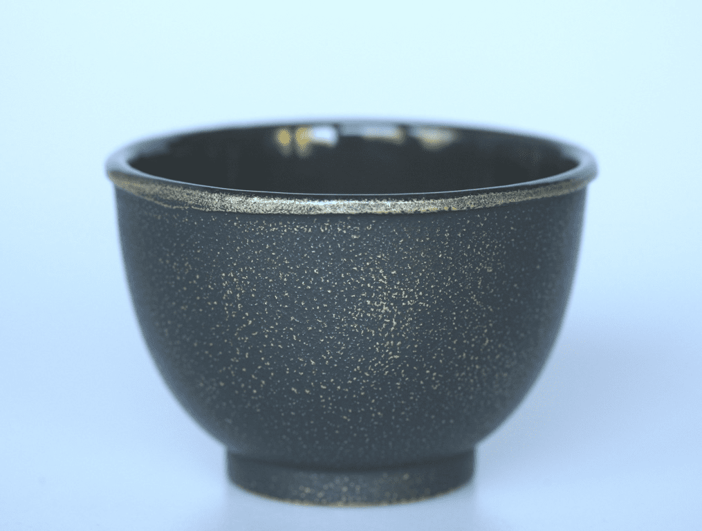 Black and Gold Cast Iron Tea Cup, 5 oz.