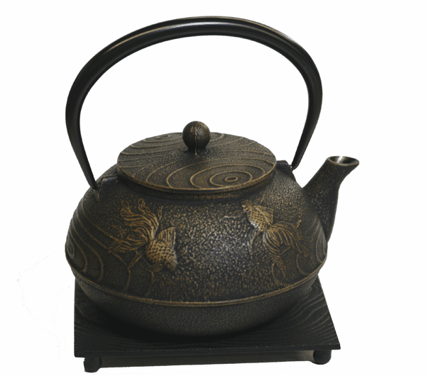Black and Gold Goldfish Cast<br> Iron Teapot, 20 oz. with Trivet